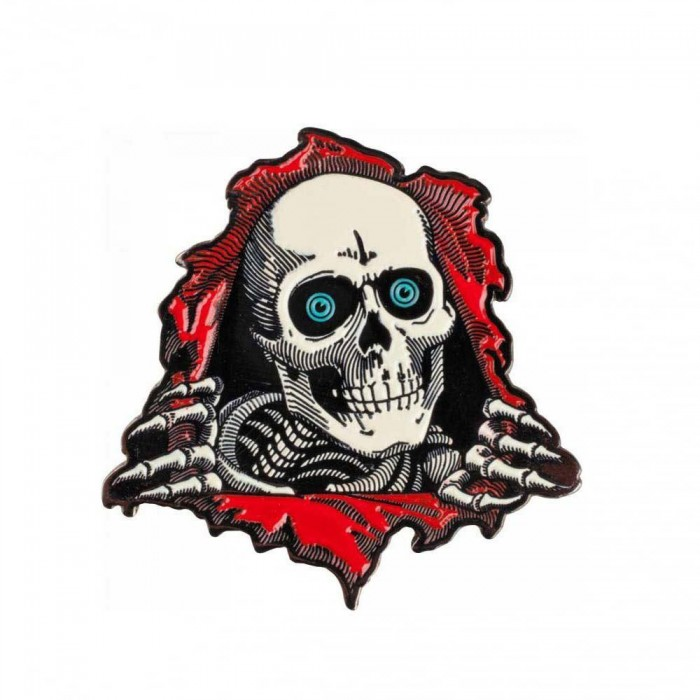 Powell Peralta Ripper Lapel Pin Badge White Red