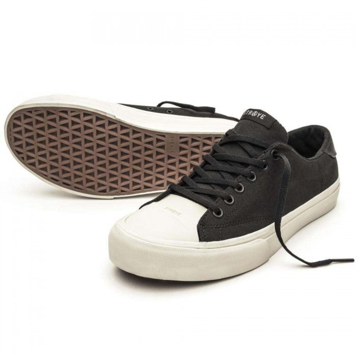 Straye Footwear Stanley Black Bone Canvas Skate Shoes