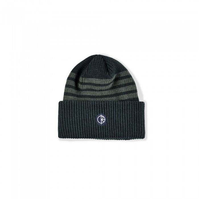 Polar Skate Co Double Fold Merino Beanie Hat Green Stripe
