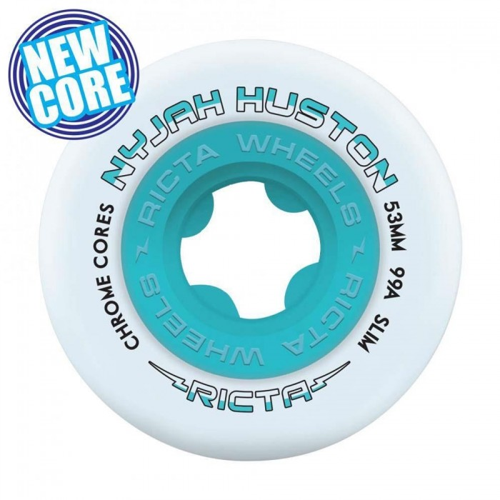Ricta Wheels Nyjah Chrome Core Slim Skateboard Wheels 99a White Teal 53mm