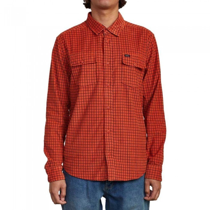 RVCA Freeman Cord Long Sleeve Shirt Rust