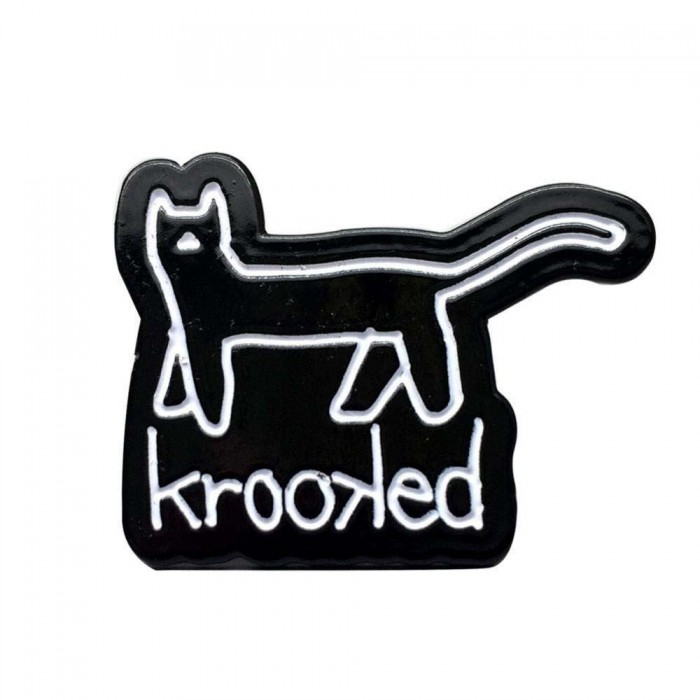 Krooked Skateboarding Kat Enamal Lapel Pin Badge Black
