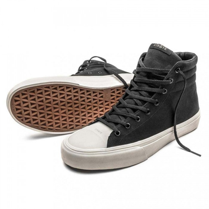 Straye Footwear Venice Black Bone Canvas Skate Shoes