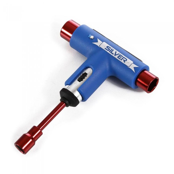 Silver Skateboard Tool Red Blue