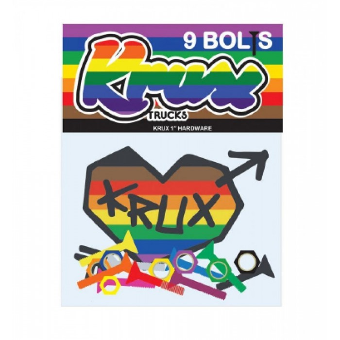 Krux Krome Skateboard Bolts Phillips Rainbow 1""