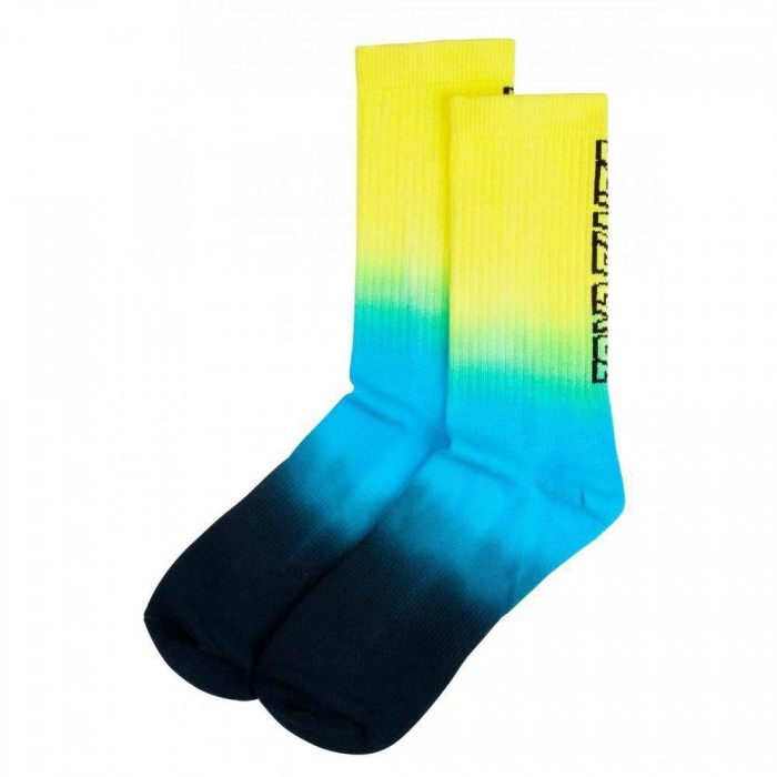 Santa Cruz Socks Strip Fade Crew Sock Yellow Cyan Black Adult