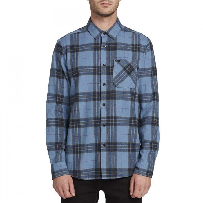 Volcom Caden Plaid Long Sleeved Flannel Shirt Blue Rinse