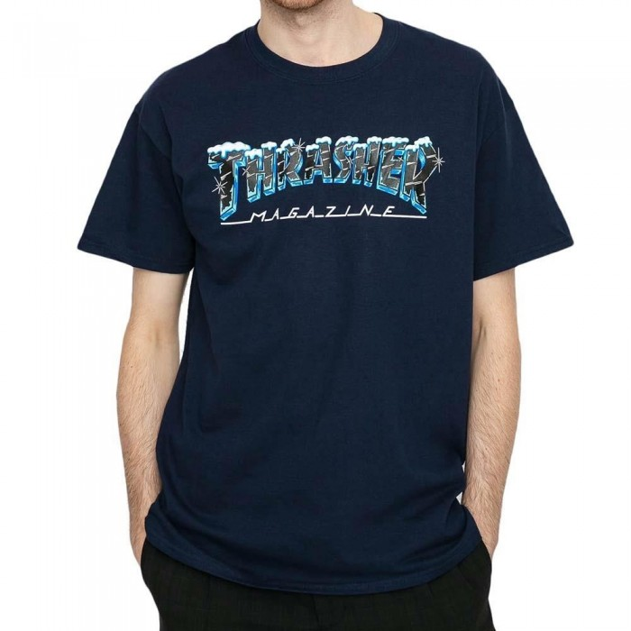 Thrasher Magazine Black Ice T-Shirt Navy