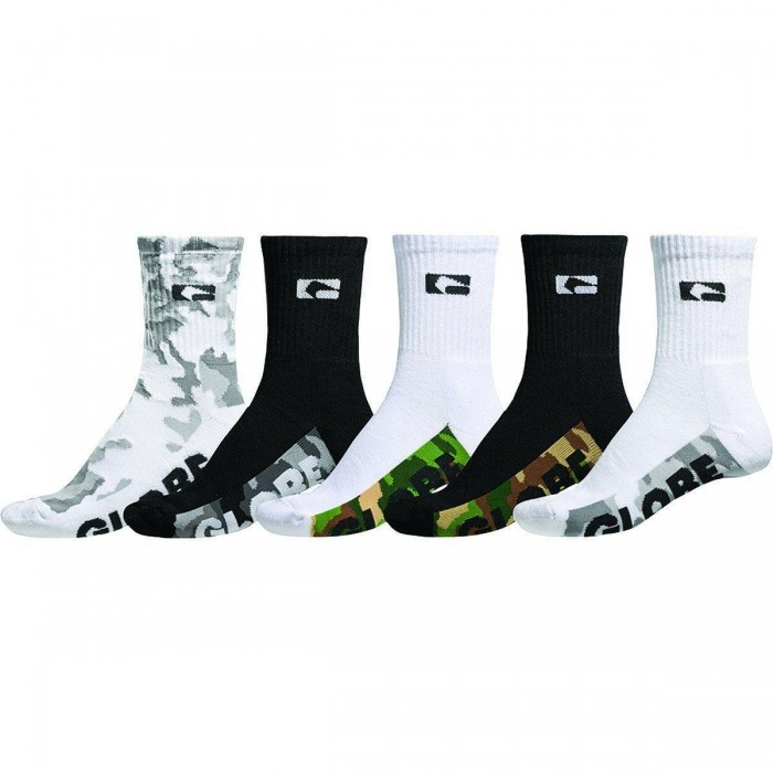 Globe Malcom Crew Socks 5 Pack Camo Uk7 - Uk11