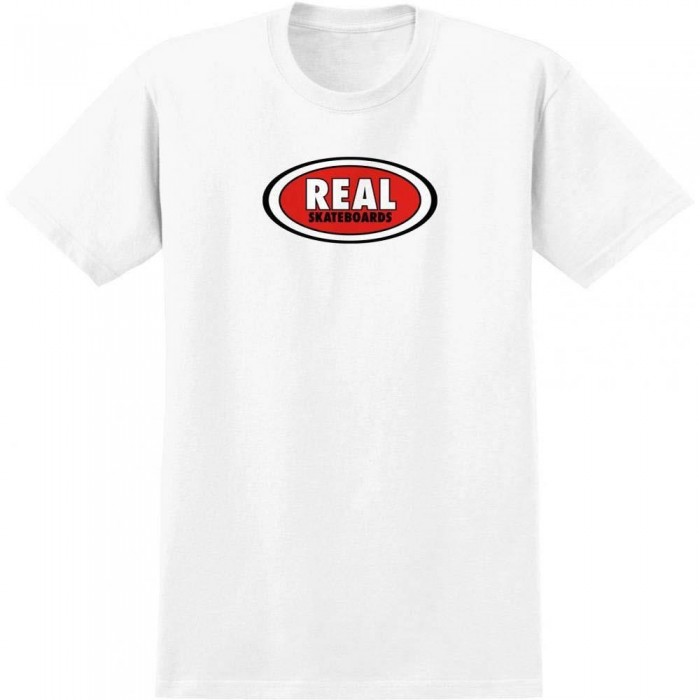 Real Oval T-Shirt White Red