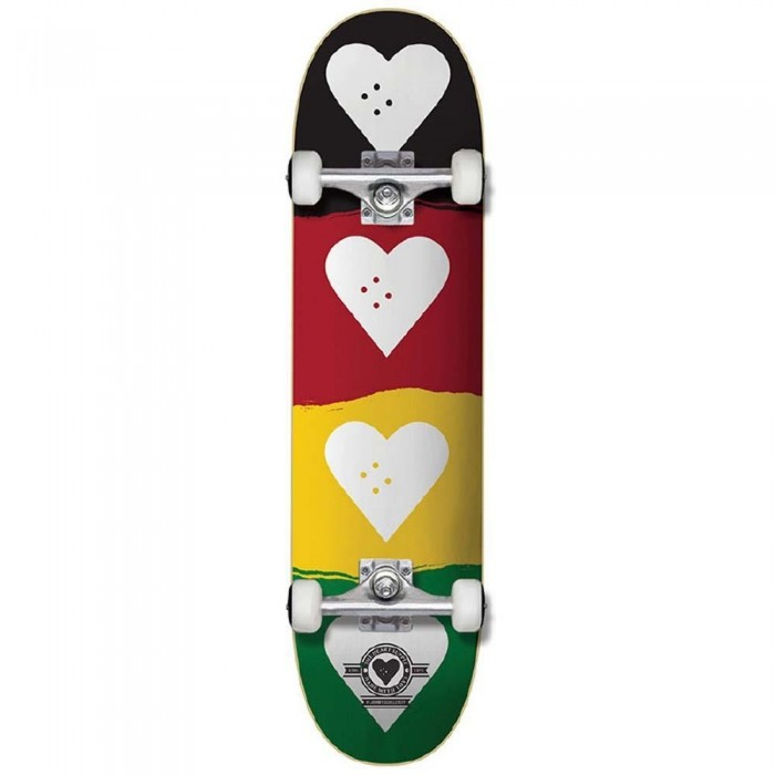 """Heart Supply Quad Logo Factory Complete Skateboard Red Gold Green 8.25"""""""