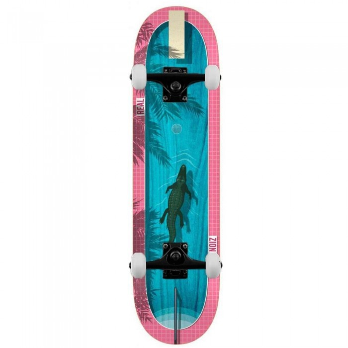 """Real Zion Dive In Complete Skateboard Blue Pink 8.5"""""""