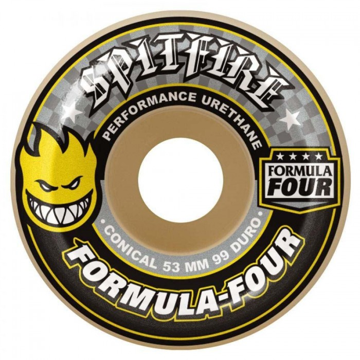 Spitfire Formula Four Conical Skateboard Wheels 99DU Natural Yellow print 53mm