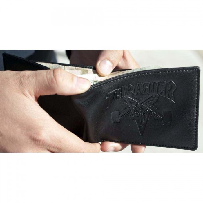 Thrasher Magazine SK8 Goat embossed Leather Wallet Black