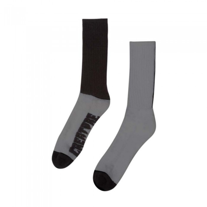 Creature Fifty Fifty Crew Socks Grey Black One Size Adult
