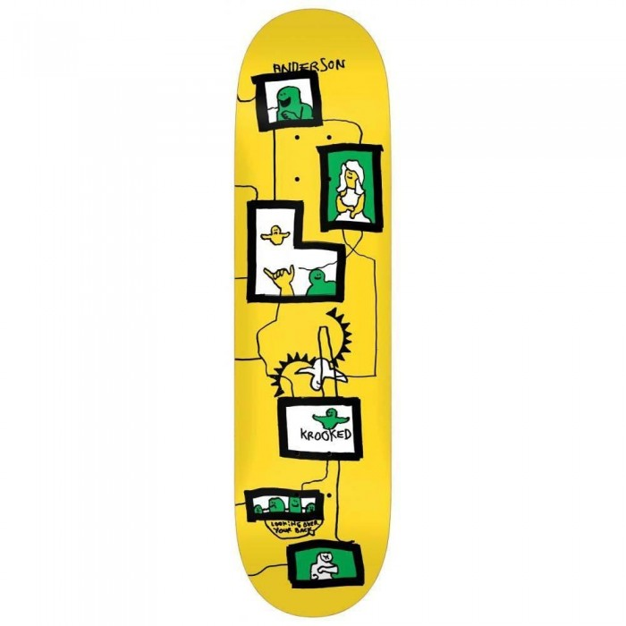 """Krooked Anderson Frames Skateboard Deck Yellow 8.38"""""""