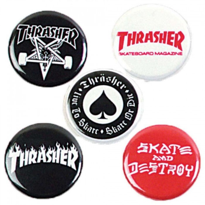 Thrasher Magazine Logo Buttons Pin Badges 5 pack