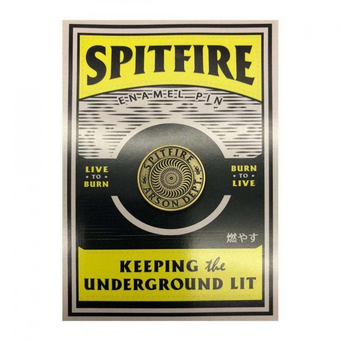 Spitfire Wheels Arson Department Lapel Pin Badge Yellow