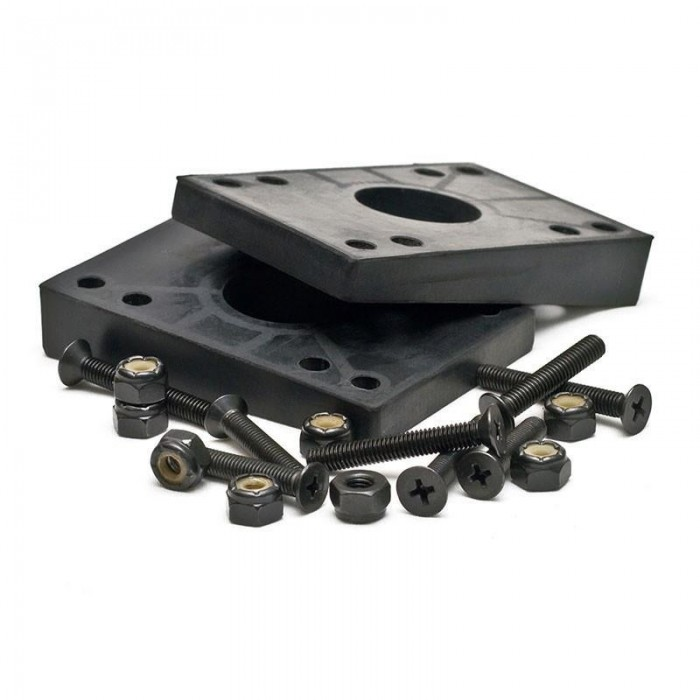 Mindless 2 Angled Riser Pads and 8 Deck Bolts Black