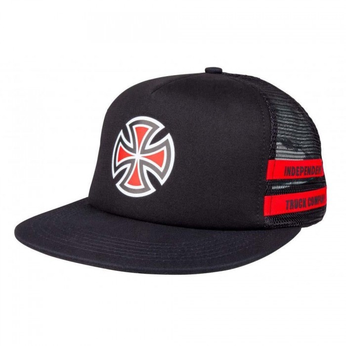 Independent Trucks Co Shear Mesh Trucker Back Cap Hat Black Red
