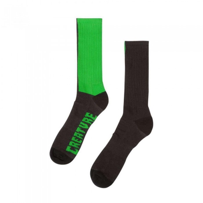 Creature Fifty Fifty Crew Socks Black Green One Size Adult