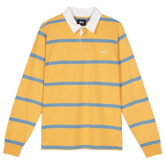 Stussy Hill Stripe Long Sleeved Rugby Shirt Gold