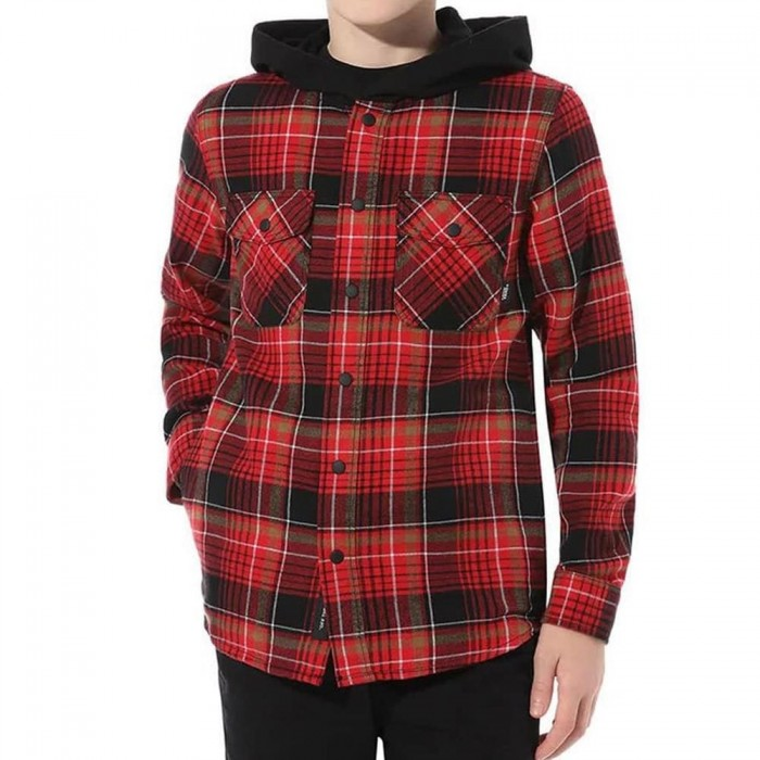 Vans Parkway Hooded Flannel Shirt Sweatshirt Black Chili Pepper
