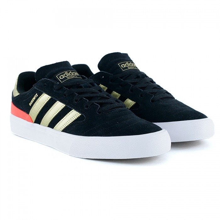 Adidas Skateboarding Busenitz Vulc II Core Black Gold Metallic Solar Red Skate Shoes