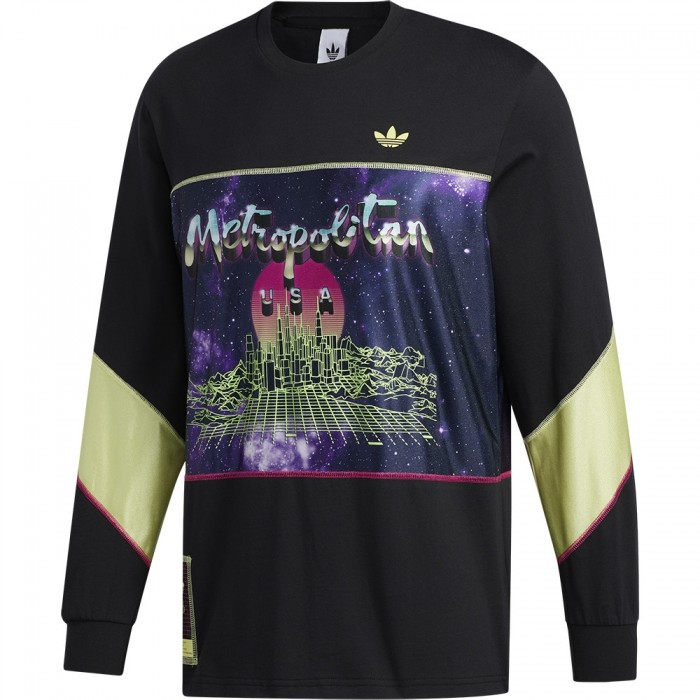 Adidas Skateboarding x Metropolitan Long Sleeved Jersey Black Yellow Tint Real Magenta