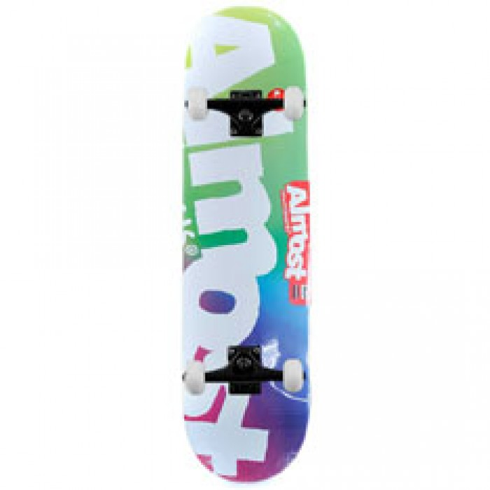 """Almost Skateboards Side Pipe Blurry Complete Skateboard Green Blue Pink 8.25"""""""