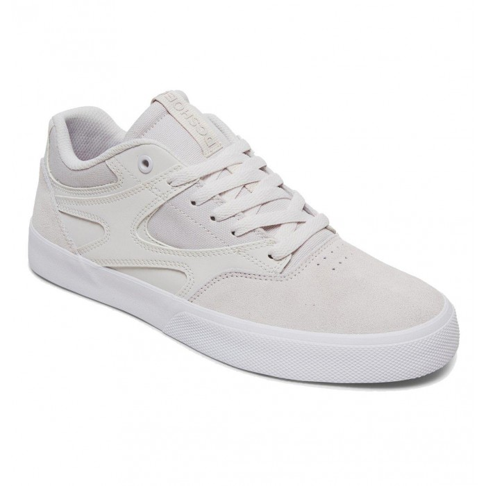 DC Shoe Co Kalis Vulc Grey White Grey Skate Shoes