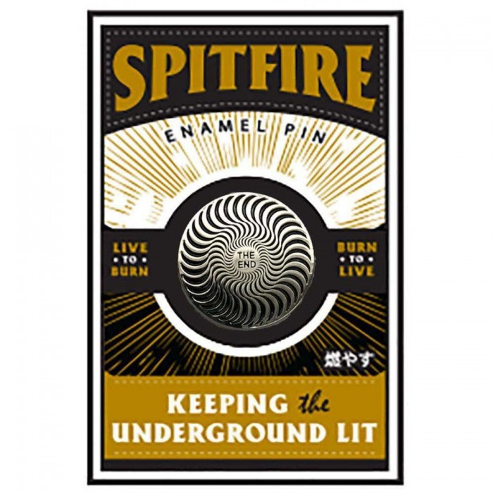 Spitfire Wheels Swirl Lapel Pin Badge Silver Black Circle