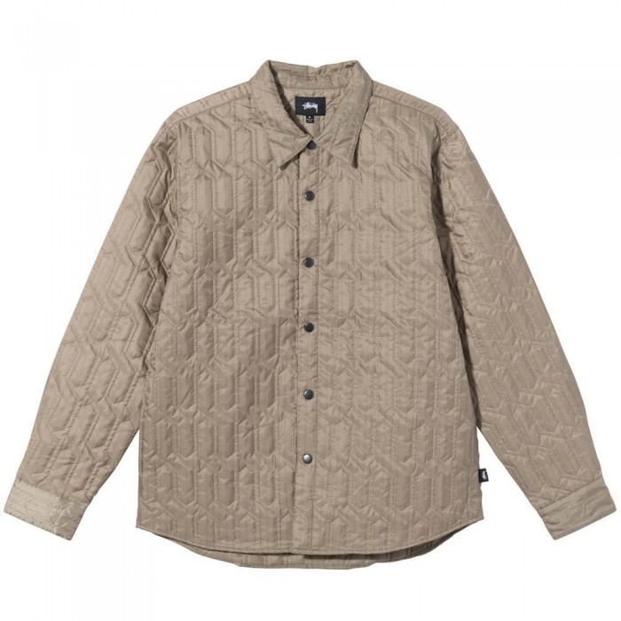 Stussy Quilted Insulated Long Sleeve Shirt Beige