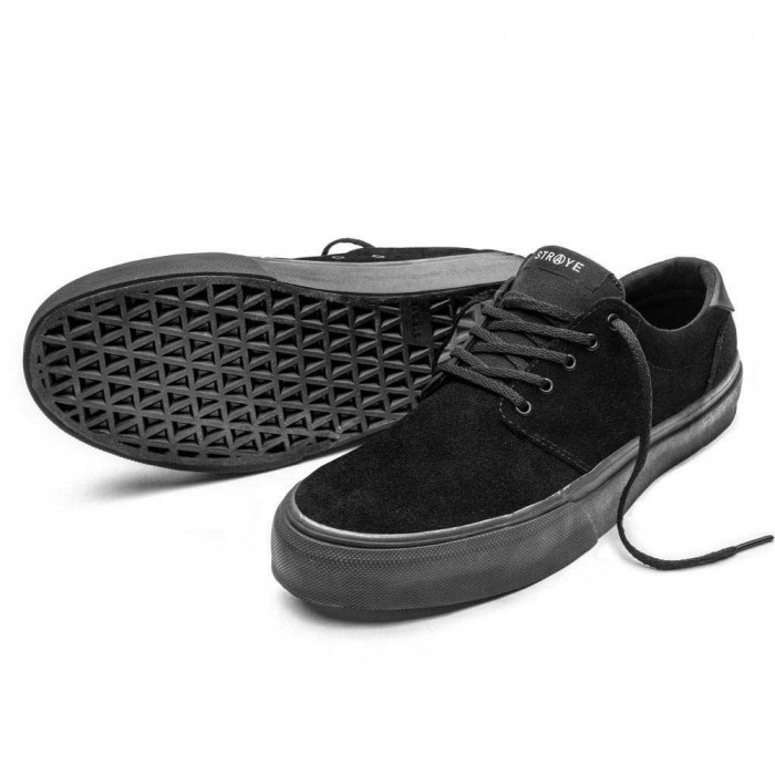 Straye Footwear Fairfax Black Black Suede Skate Shoes