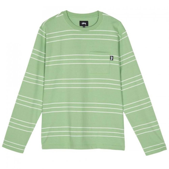 Stussy Trinity Stripe Long Sleeved Crew Green