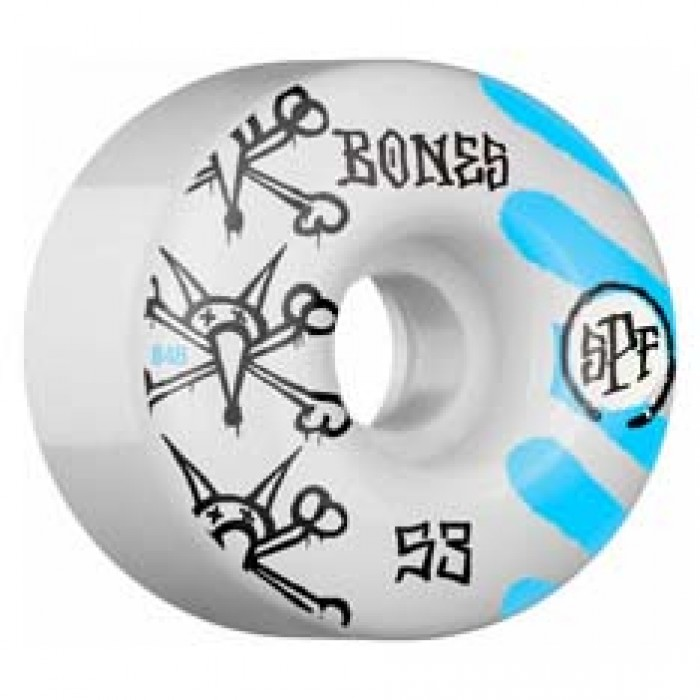 Bones SPF War Paint Skateboard Wheels White 84b 53mm