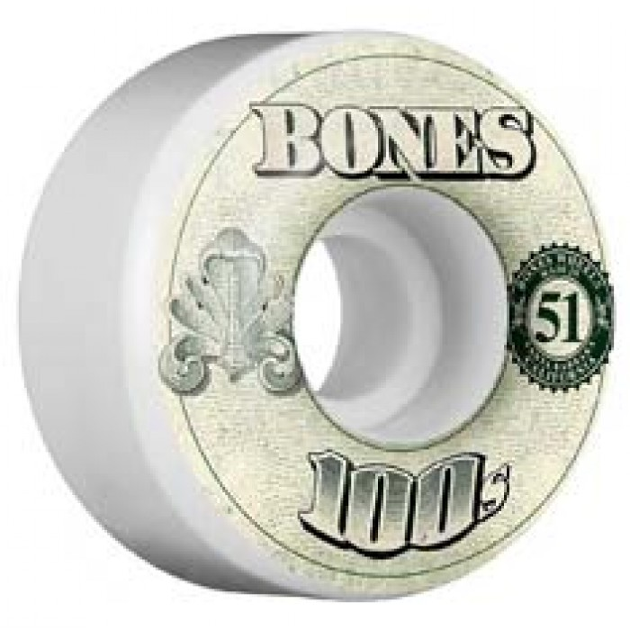 Bones Wheels OG 100's #11 Skateboard Wheels V4 White 51mm