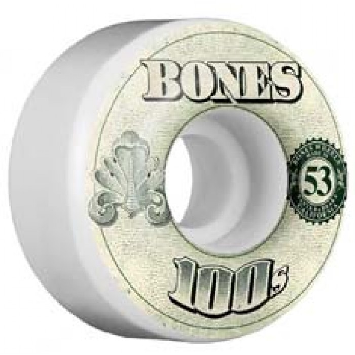 Bones Wheels OG 100's #11 Skateboard Wheels V4 White 53mm