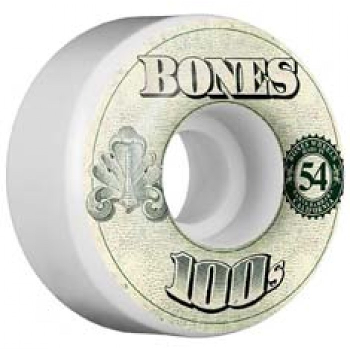Bones Wheels OG 100's #11 Skateboard Wheels V4 White 54mm