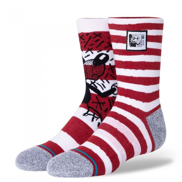 Stance Socks Keith Haring x Disney Mickey TV Haring Mix Red Large