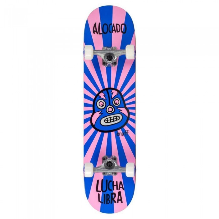 Enuff Lucha Libre Mini Factory Complete Skateboard Pink Blue 7.25""