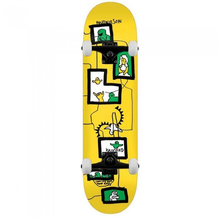 """Krooked Anderson Frames Complete Skateboard Yellow 8.38"""""""