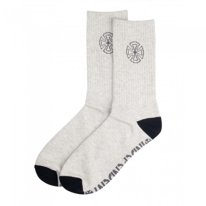 Independent Truck Co Bar Cross Cast Socks Marled Light Grey One Size Adult