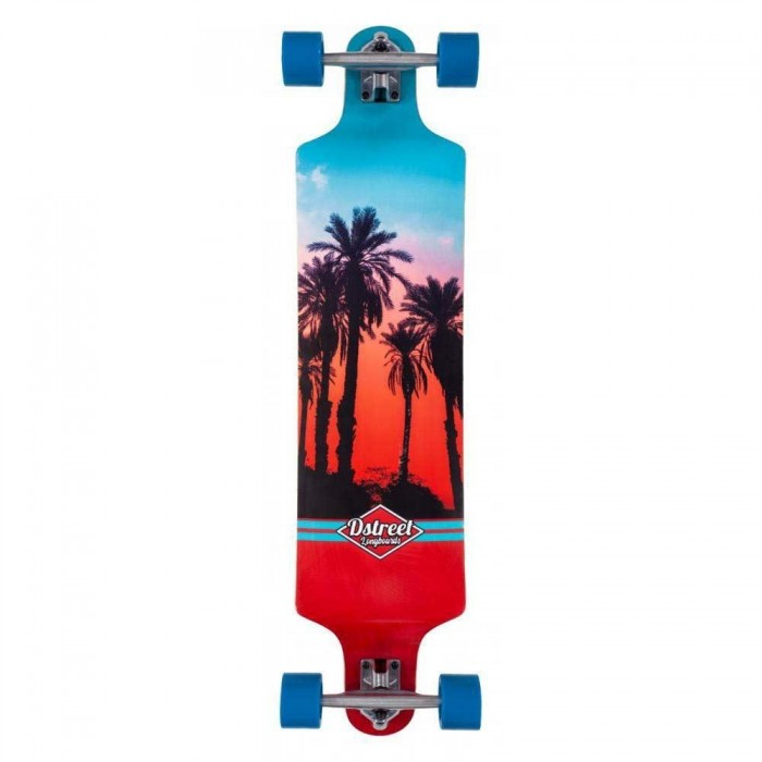 D Street Skateboard Drop Down Hawaiian Blue Red 38 Inch
