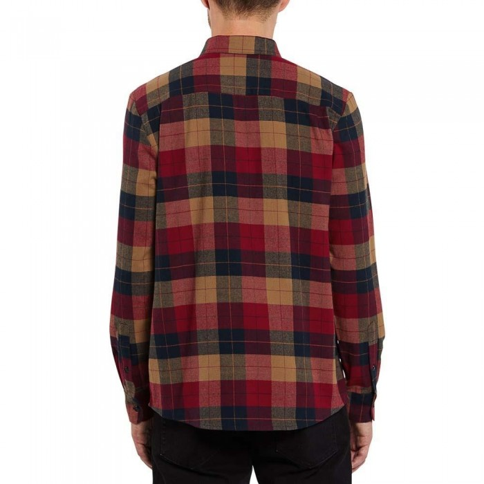 Volcom Caden Plaid Long Sleeve Flannel Shirt Rio Red