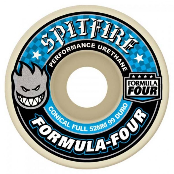 Spitfire Formula Four Skateboard Wheels Conical Full 99DU Natural 52mm