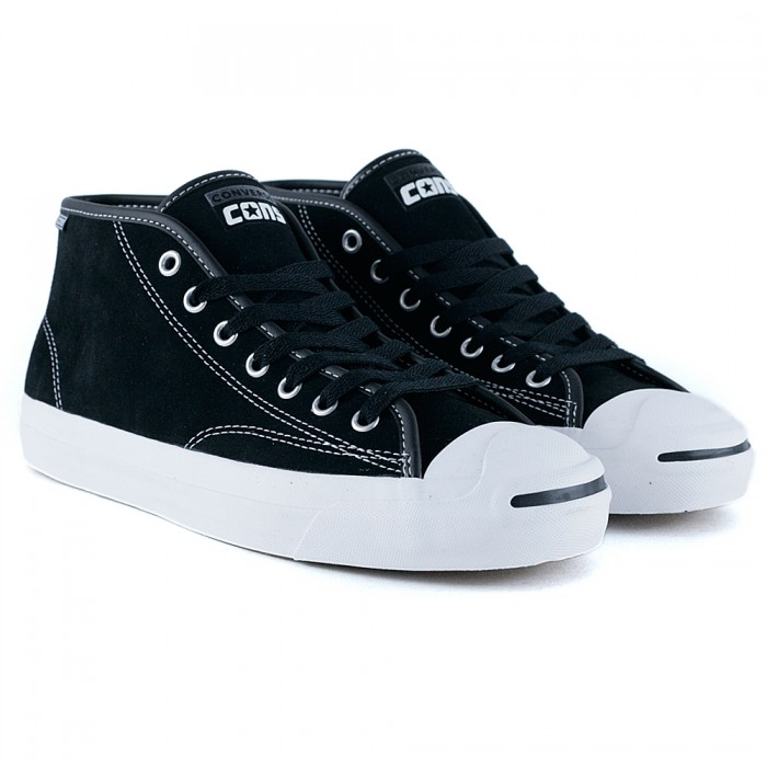 Converse Cons Jack Purcell Pro Mid Black White Black Skate Shoes