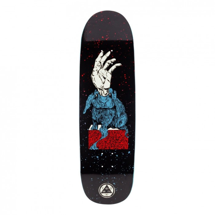 Welcome Skateboards Magic Bunny Skateboard Deck Boline Shape Black Red Blue 9.25""