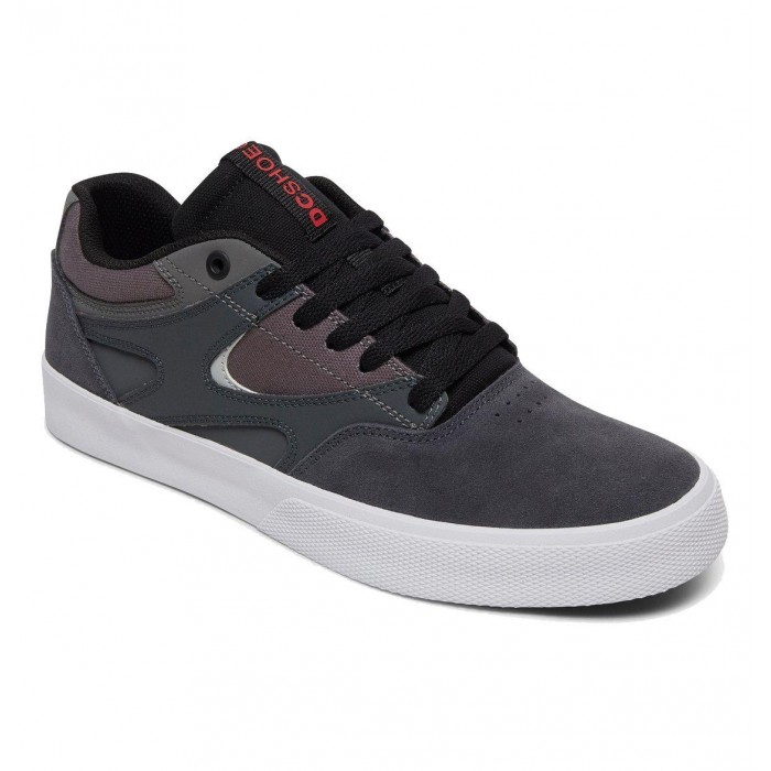 DC Shoe Co Kalis Vulc Grey Black Red Skate Shoes