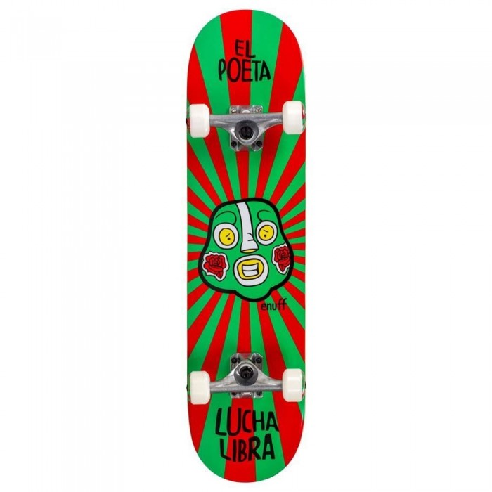 Enuff Lucha Libre Factory Complete Skateboard Red Green 7.75""